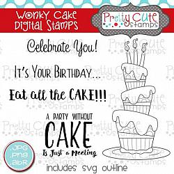 Wonky Cake Digital Stamps