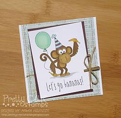 Birthday Monkey Digital Stamps