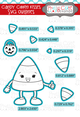 Candy Corn Kisses SVG Outlines