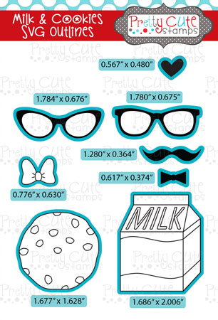 Milk and Cookies SVG Outlines