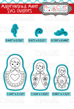 Matryoshka Mom SVG Outlines