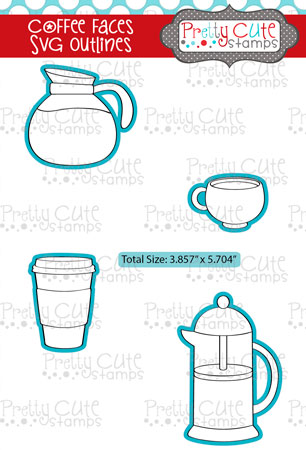 Coffee Faces SVG Outlines
