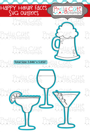 Happy Hour Faces SVG Outlines