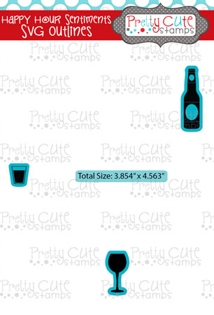 Happy Hour Sentiments SVG Outlines