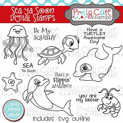 Sea Ya Soon Digital Stamps