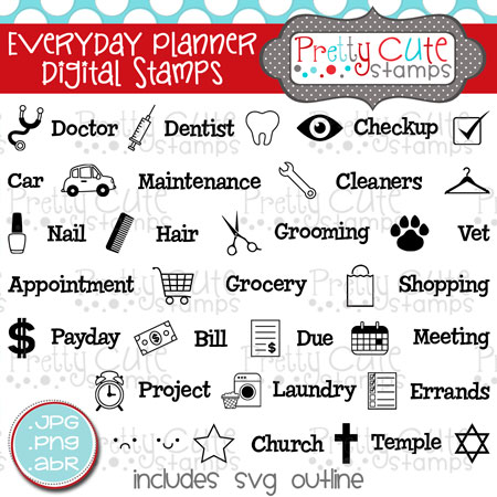 Everyday Planner Digital Stamps