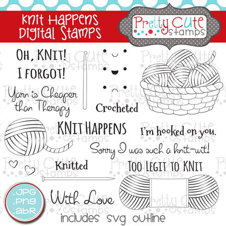 Knit Happens Digital Stamps