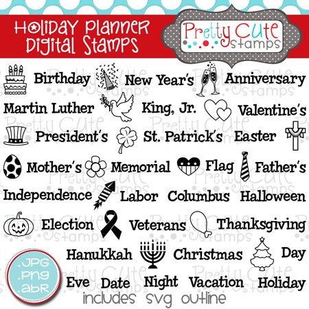 Holiday Planner Digital Stamps