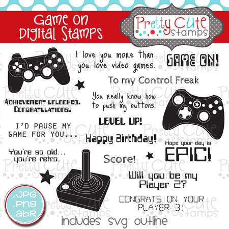 Game On Digital Stamps