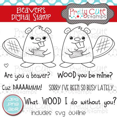 Beavers Digital Stamps