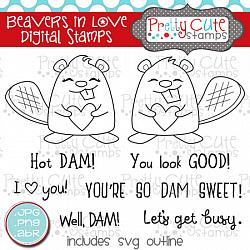 Beavers in Love Digital Stamps
