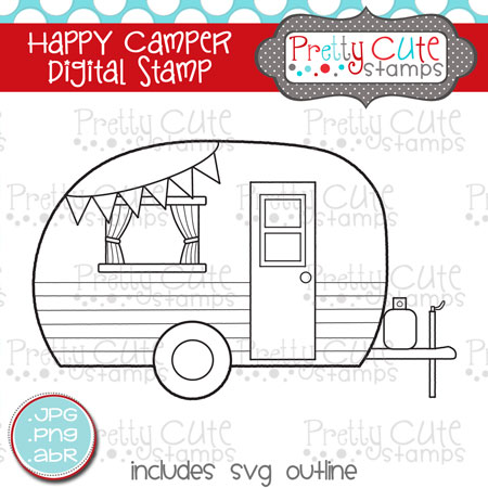 Happy Camper Digital Stamp