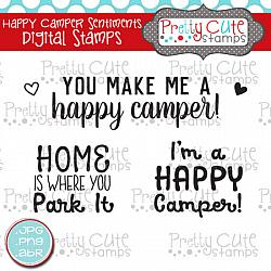 Happy Camper Sentiments Digital Stamps