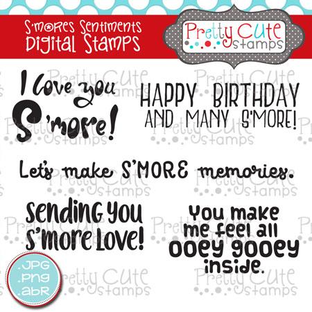 S'mores Sentiments Digital Stamps