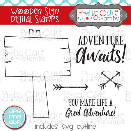 Wooden Sign Digital Stamps