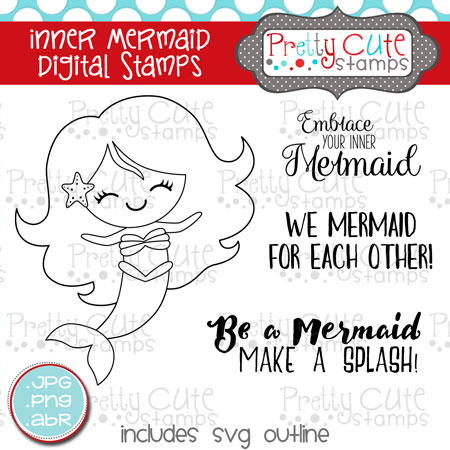 Inner Mermaid Digital Stamps
