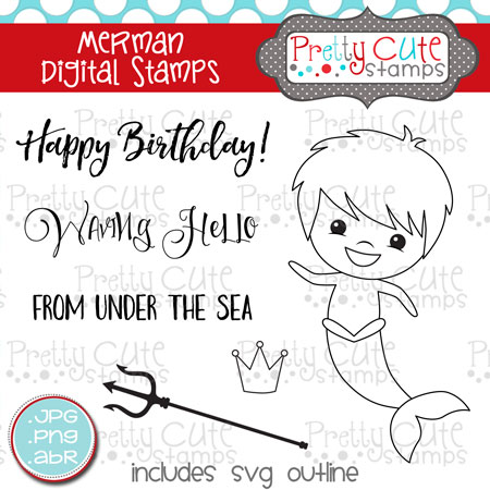 Merman Digital Stamps