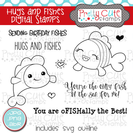 Hugs and Fishes Digital Stamps