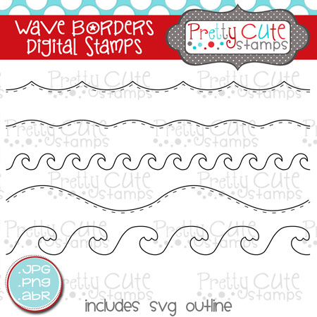PCS Wave Borders Digital Stamp Set
