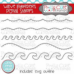 Wave Borders Digital Stamps