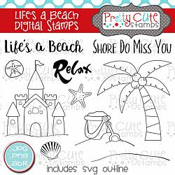 Life's a Beach Digital Stamps