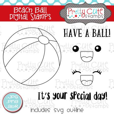 Beach Ball Digital Stamps