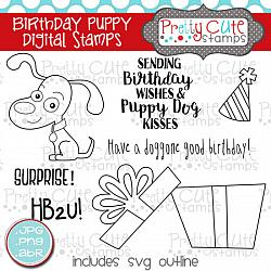 Birthday Puppy Digital Stamps