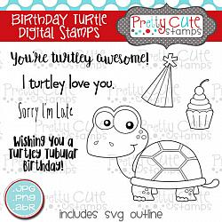 Birthday Turtle Digital Stamps