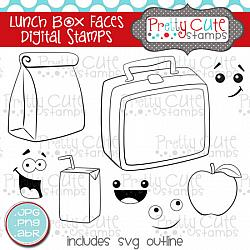 Lunch Box Faces Digital Stamps