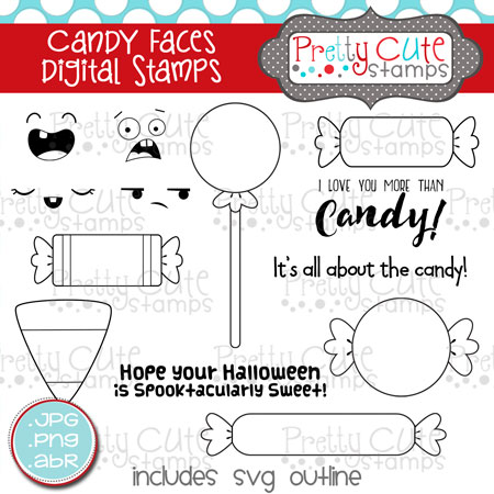 Candy Faces Digital Stamps