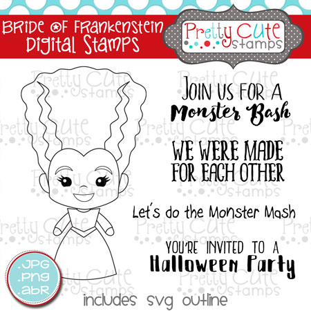 Bride of Frankenstein Digital Stamps