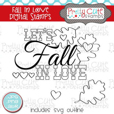 Fall in Love Digital Stamps