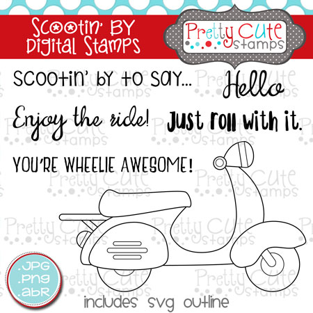 Scootin' By Digital Stamps