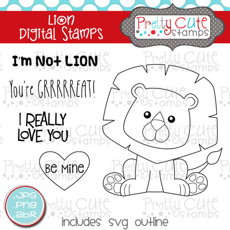 Lion Digital Stamps