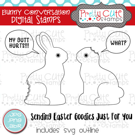Bunny Conversation Digital Stamps