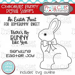 Chocolate Bunny Digital Stamps