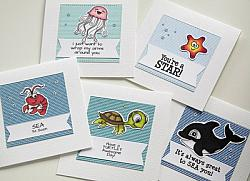 Sea Life Sentiments Digital Stamps