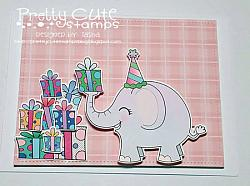 Birthday Elephant Digital Stamps